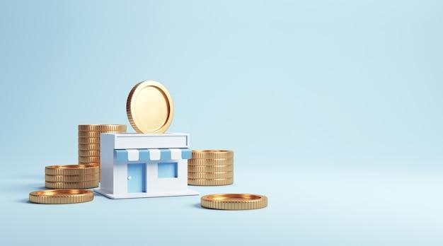 Moneda en tiendas, ganando dinero con negocios de franquicia.