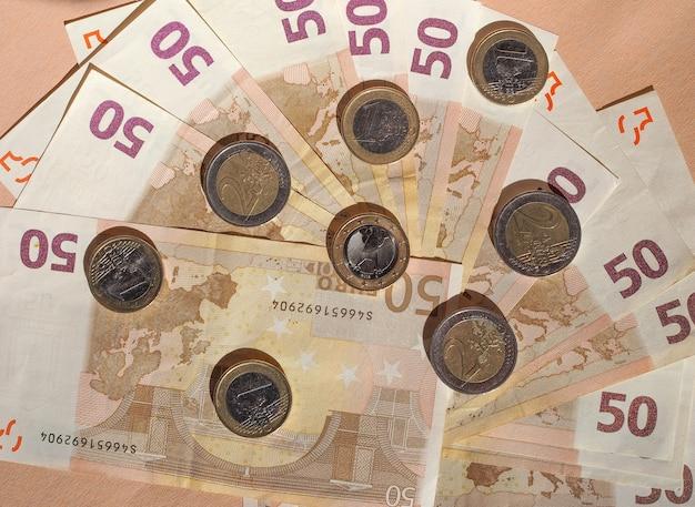Monedas y billetes de euro moneda de la unión europea