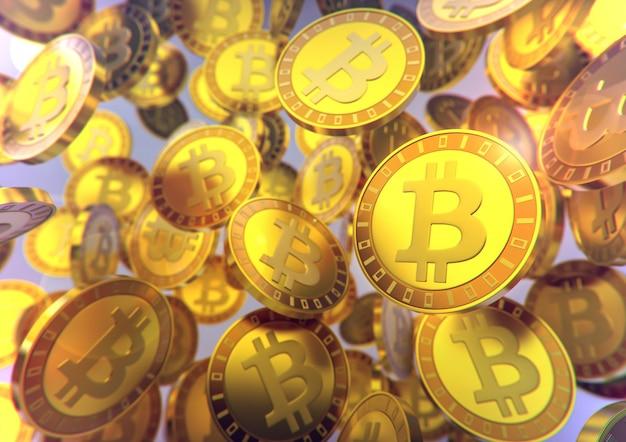Monedas de bitcoin cayendo
