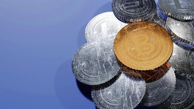 Monedas criptográficas de oro y plata 3d sobre fondo azul con espacio de copia.