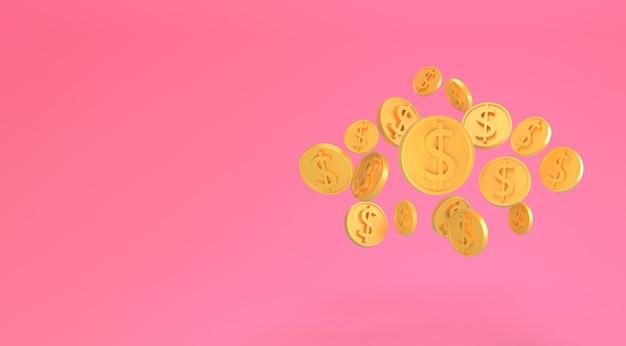 Monedas de dólar de oro cayendo aisladas en rosa. monedas de un dólar estadounidense mínimo