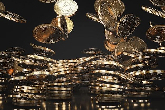 Monedas doradas de dogecoin (doge) que caen desde arriba en la escena negra, moneda digital para fines financieros, promoción de intercambio de tokens. representación 3d