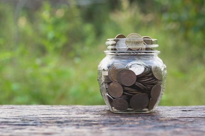 Monedas en vidrio y apilar monedas con árbol para negocios y temporada de impuestos.