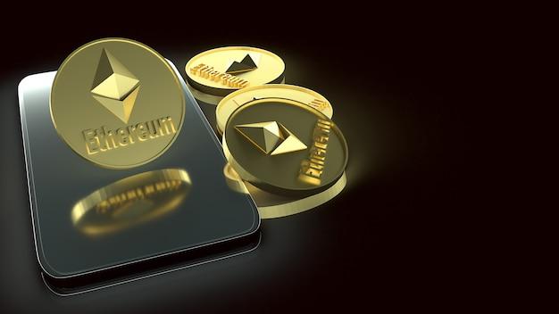 Monedas ethereum y teléfonos inteligentes para renderizado 3d de contenido empresarial.