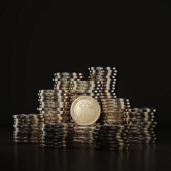 Las monedas de golden dogecoine (doge) se apilan en la escena negra, moneda digital para la promoción financiera del intercambio de fichas. representación 3d