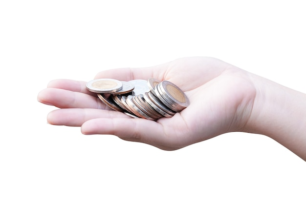 Monedas en manos aislado en blanco