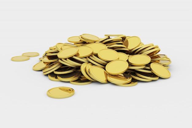 Monedas de oro en blanco en una pila