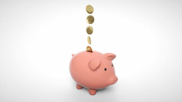 Monedas de oro cayendo en una alcancía