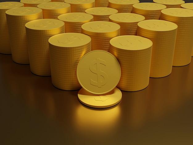 Monedas de oro dinero en efectivo en montones