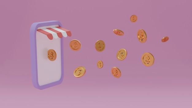 Monedas de oro flotantes desde teléfonos inteligentes, compras móviles, tienda en línea, negocios de banca por internet