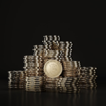Monedas de plata cardano (ada) apiladas en escena negra, moneda digital para promoción financiera, intercambio de tokens. representación 3d
