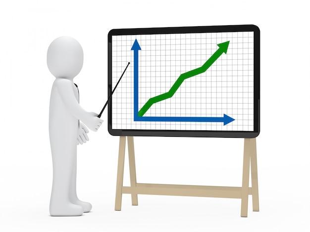 Monigote señalando con un palo un gráfica