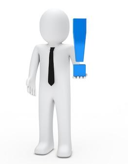 Monigote con un símbolo azul de exclamación
