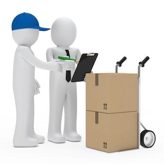 Monigotes trabajando con cajas