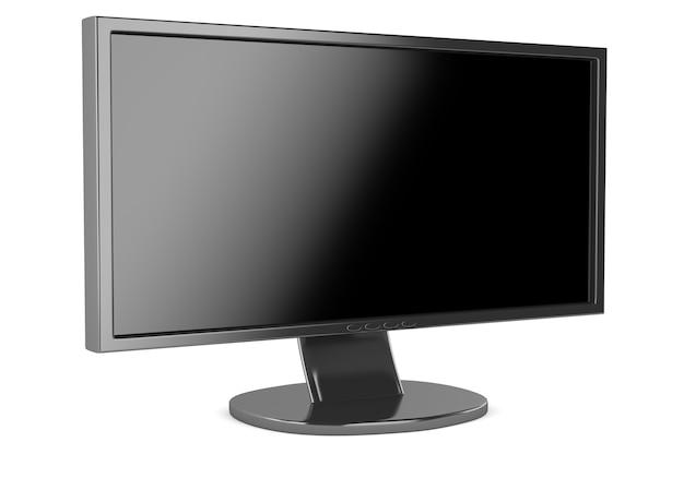 Monitor lcd con pantalla en blanco aislado sobre fondo blanco.