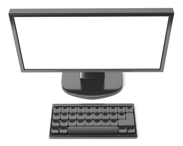 Monitor lcd con teclado aislado sobre fondo blanco.