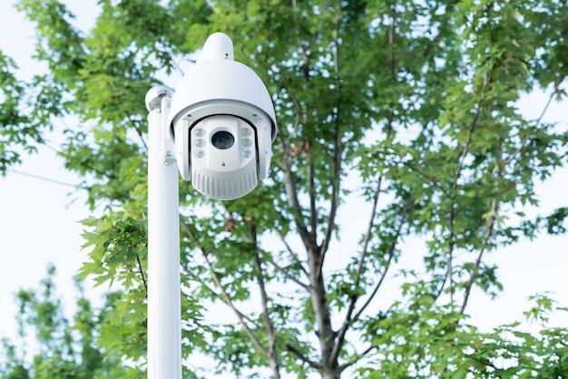 Monitor de seguridad cctv para exteriores, color blanco sobre fondos de árboles.