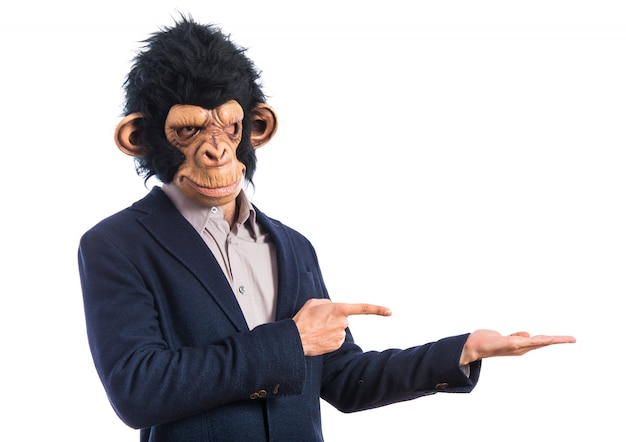 Mono, hombre, tenencia, algo