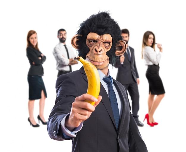 Mono, hombre, tenencia, plátano