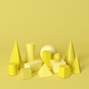 Monotonel amarillo formas geométricas establecidas sobre fondo amarillo. idea de concepto minimalista