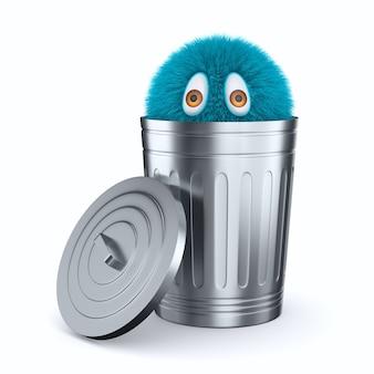 Monstruo en la cesta de basura abierta en el espacio en blanco