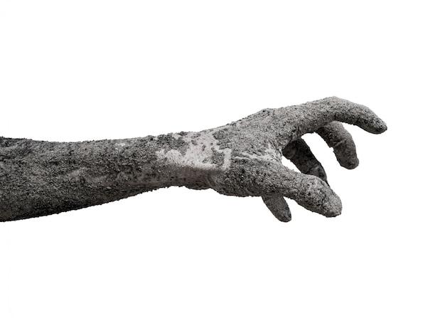 Monstruo zombie mano cinder aislado en blanco.