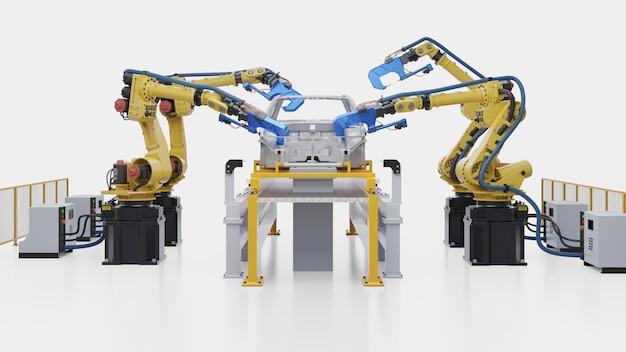 Montaje automotriz robótico en fábrica.