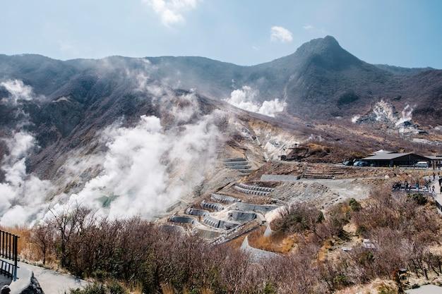 Montaña de aguas termales de japón