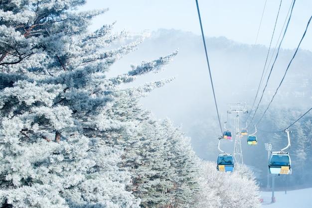 Montaña balwangsan en invierno, corea