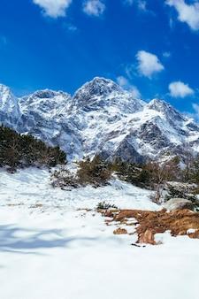 Montaña cubierta de nieve contra el cielo azul