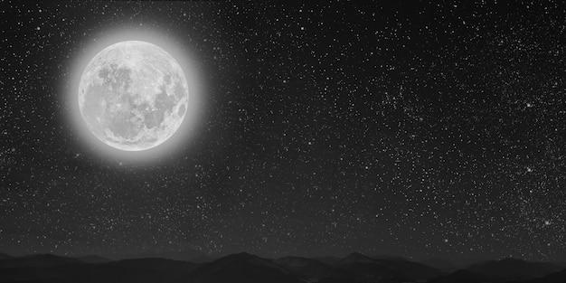 Montaña. fondos cielo nocturno con estrellas, luna y nubes.