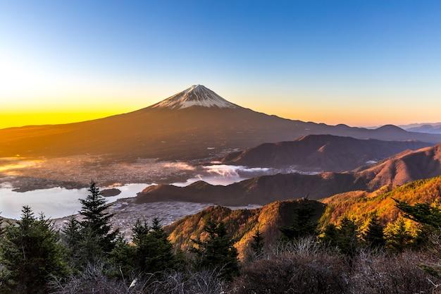 Montaña fuji amanecer japón