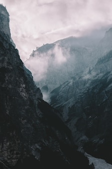Montañas cubiertas de niebla