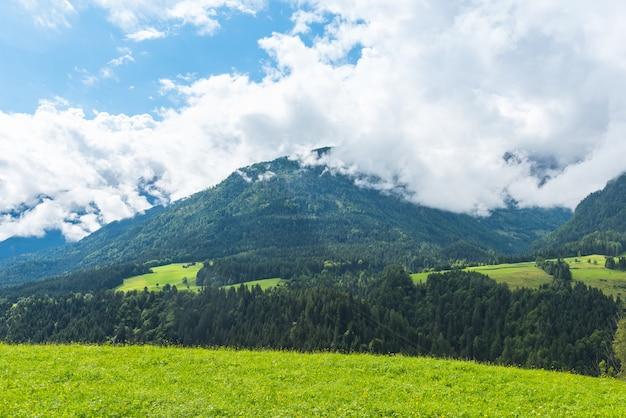 Montañas verdes de los alpes del bosque en austria. tiro horizontal