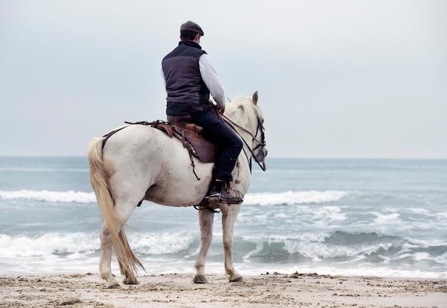 Montando hombre y caballo