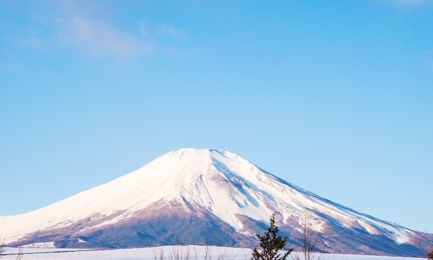 Monte fuji hermoso paisaje blanco cielo claro