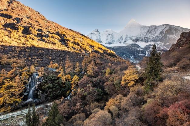 Monte jamelyang con cascada en el bosque de otoño en la noche