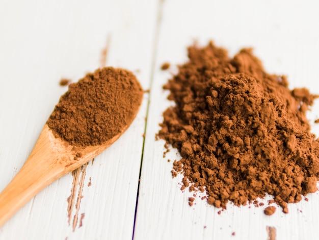 Montón de cacao en polvo sobre mesa y en cuchara de madera.