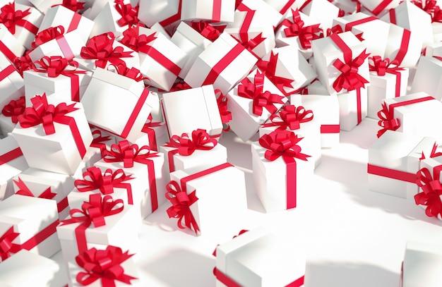 Montón de cajas de regalo blancas con cintas rojas sobre un fondo blanco.