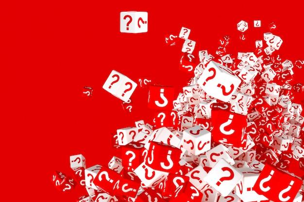 Un montón de dados rojos y blancos que caen con signos de interrogación en los lados. 3d ilustración