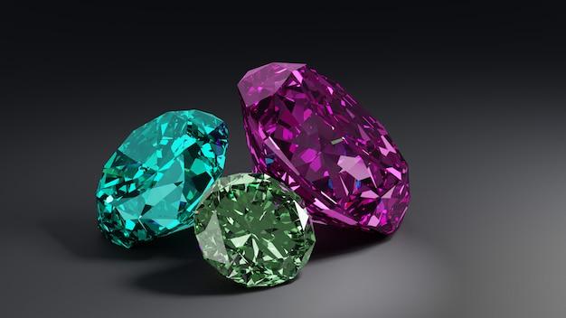 Un montón de diamantes de colores sobre fondo gris.