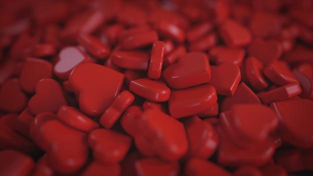 Montón de la forma roja del corazón 3d que rinde