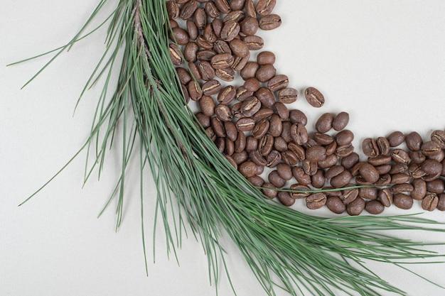 Montón de granos de café con rama sobre superficie gris