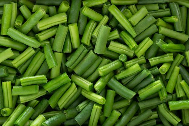 Montón de judías verdes frescas picadas