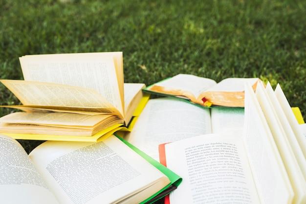 Montón de libros abiertos en el parque
