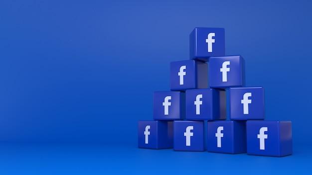 Montón de logotipos de cubos de facebook sobre fondo azul.
