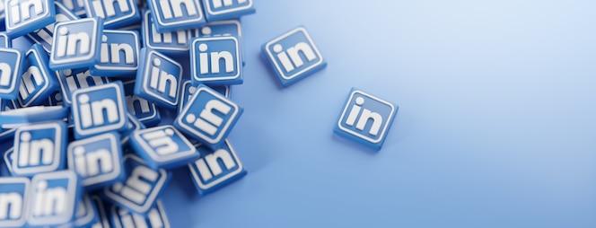 Un montón de logotipos de linkedin en azul