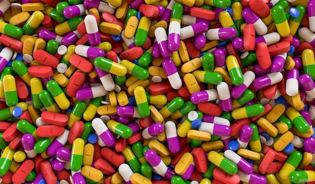 Un montón de medicamentos de colores y pastillas desde arriba. ilustración de renderizado 3d