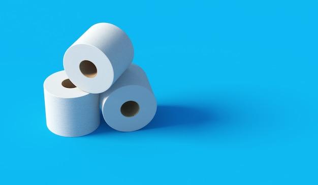 Montón de papel higiénico blanco sobre fondo azul en 3d rendering
