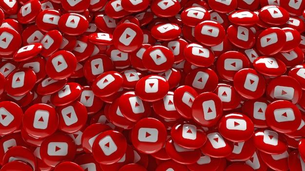 Un montón de pastillas brillantes de youtube en 3d
